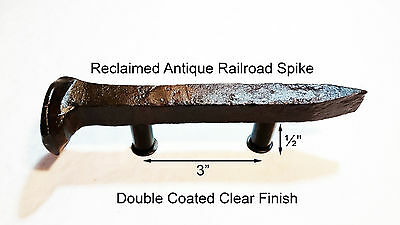 "3"" Left Sealed Railroad Spike Dresser Drawer Cabinet Handle Antique Vintage"