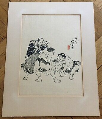Antique / Vintage Japanese Original Ink Drawing On Rice Paper With Signed