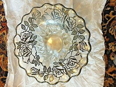 "Wow! Stunning Vintage Footed 11"" Sterling Silver Flower Overlay Glass Bowl"