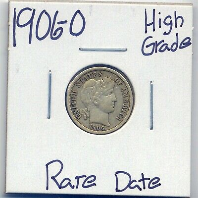 1906-O Barber Silver Dime US Mint Rare Date Silver Coin High Grade