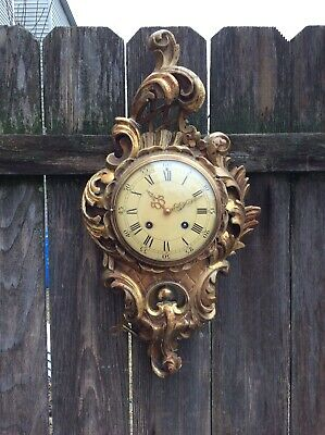Swedish Westerstrand, Fancy Gilded Carved Wood Wall Clock, Restoration Project.