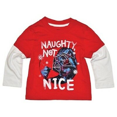 Star Wars Darth Vader Naughty not Nice Shirt Top NWT Boys Disney Christmas 18 mo