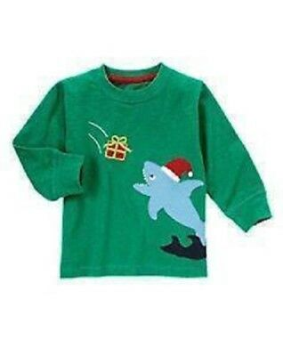 GYMBOREE SANTA SHARK LONG SLEEVE SHIRT Baby Boy Green size 6-12 mo Christmas NEW