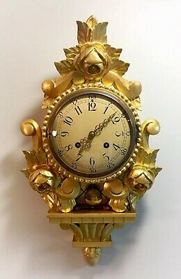 Excellent Westerstrand Tobebora 1940s Swedish Gold Gilt Carved Wall Clock