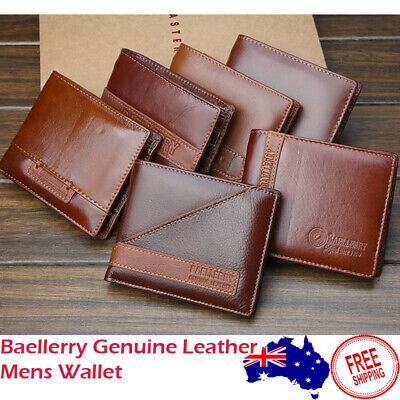 AU Stock Mens Wallet Genuine Leather Bifold Zip Coin Purse Card Photo Holder