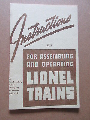 1935 Instructions For Assembling And Operating Lionel Trains REPRO