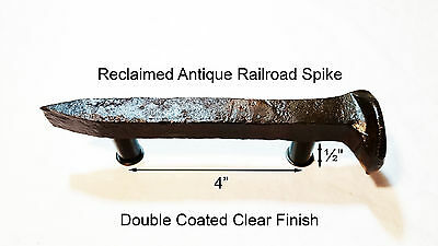 "4"" Right Sealed Railroad Spike Dresser Drawer Cabinet Handle Antique Vintage"