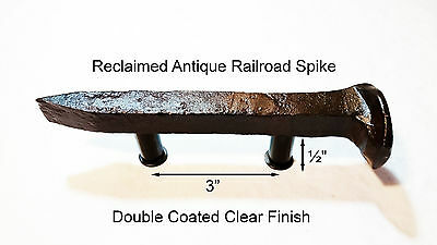 "3"" Right Sealed Railroad Spike Dresser Drawer Cabinet Handle Antique Vintage"