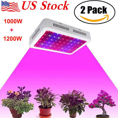 2X 1000W 1200W LED Grow Light Full Spectrum Veg Indoor Plant Flower Panel  Lamp B