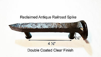 "4-1/2"" Right Sealed Railroad Spike Dresser Drawer Cabinet Handle Antique Vintage"