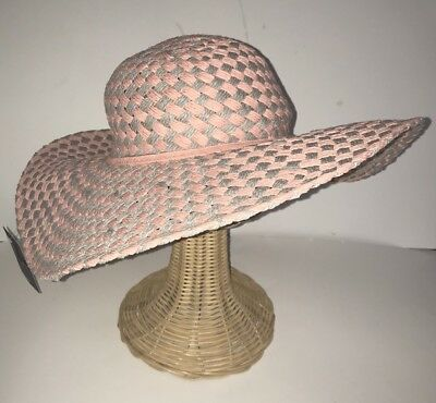 0608cbe5d5d4d D Y Floppy SunHat Coral Gray Womens New One Size Paper Straw Packable  Crushable
