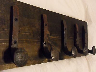 "5 Antique Hooks Old Railroad Spike Art ""Black Ebony"" Vintage Style Coat Rack"