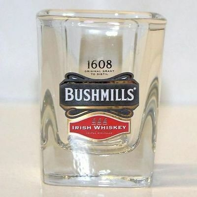 Bushmills 1608 Irish Whiskey Shot Glass~Square Heavy Thick Glasses ~ Lot Of 14