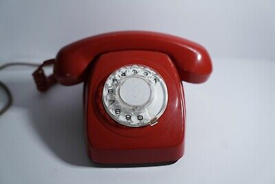 Retro Red Telephone - Original Dial Up Phone - Vintage Red British Decor - Retro