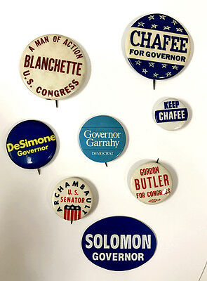 Rhode Island Governor and US Congress Political 8 Pin Lot From the 60's - 80's 2
