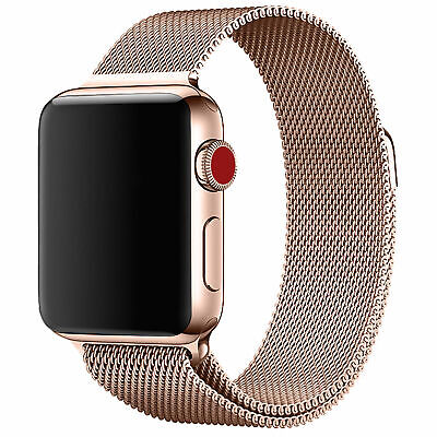 Apple Watch Series 4 3 2 1 38 40 42 44mm Milanese Loop Stainless Rose Gold Band