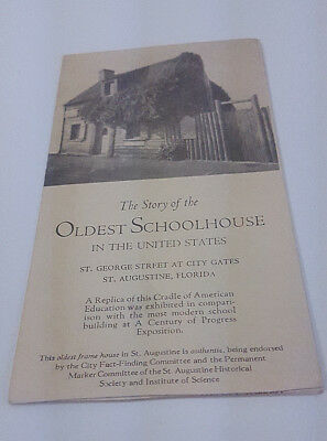 1934 St. Augustine Florida Oldest Schoolhouse In The United States Brochure