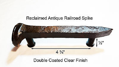 "4-3/4"" Left Sealed Railroad Spike Dresser Drawer Cabinet Handle Antique Vintage"