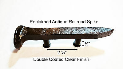 "2-1/2"" Left Sealed Railroad Spike Dresser Drawer Cabinet Handle Antique Vintage"