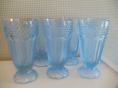 Gorham Emily's Attic Ice Blue Footed Goblets with Hobnail, Herringbone ~ Set 6