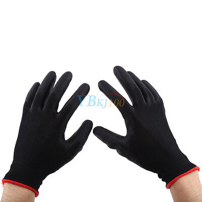 12/24 Pairs Nylon PU Safety Coating Work Gloves Builders Palm Protect S M L New