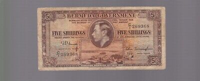 1937 5 Five Shillings Banknote note Bermuda Government war time H-598