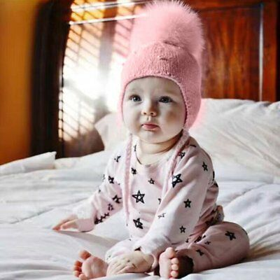 Baby Girls Infant Toddlers Winter Warm Crochet Knit Fur Pom Cap Beanie Hat Pink