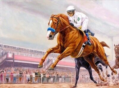 Justify Flies in the Preakness Horse Racing Giclee Print By Tom Chapman 12x16