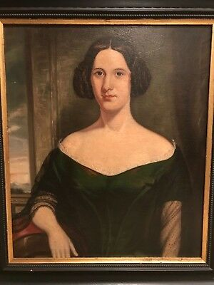 Antique Portrait Oil Painting of a Lady Woman - Late 19th / Early 20th Century f