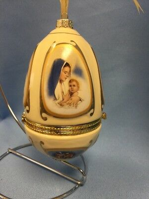 "New Porcelain Musical Egg Ornament, Opens Like A Trinket Box, 4.25"" Tall"