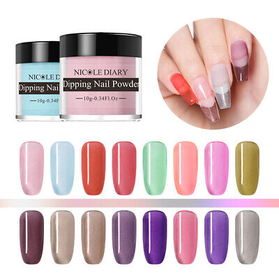 NICOLE DIARY Dipping Powder Natural Dry Clear Glazed Color Nail Art Acrylic Tips