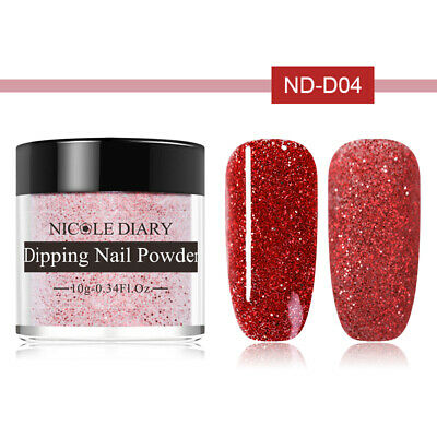 10ml NICOLE DIARY Red Glitter Matte Dipping Powder Acrylic Tips Nail Art ND-D04