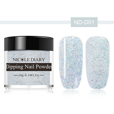 NICOLE DIARY White Glitter Matte Dipping Powder Acrylic Tips Nail Art DIY ND-D01