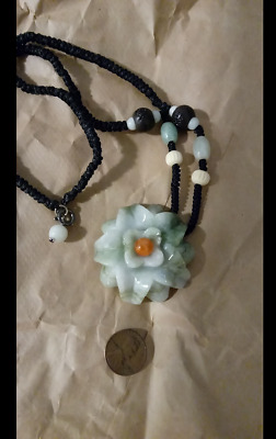 Grade A Burmese Green Jadeite Carved Flower W/ Matching Bead Necklace.