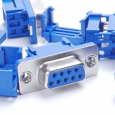 5parts D-SUB 9-pin DB9 Female IDC crimp adapter plug for ribbon cable Blue Chic