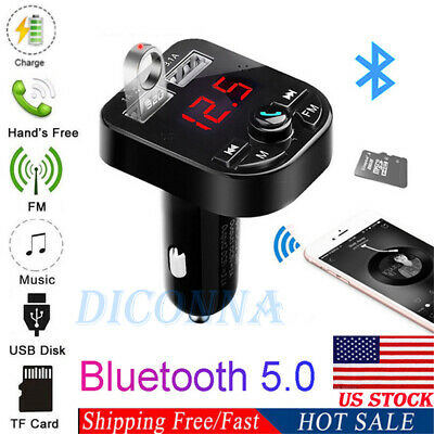US Bluetooth Car USB Charger FM Transmitter Wireless Radio Adapter MP3 Player