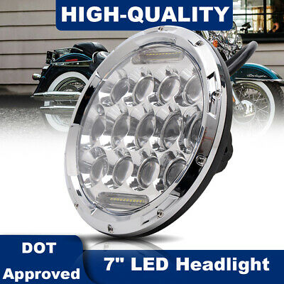 "Motorcycle Chrome Front Projector 7"" Headlight Hi/Lo LED Light DRL For Harley"