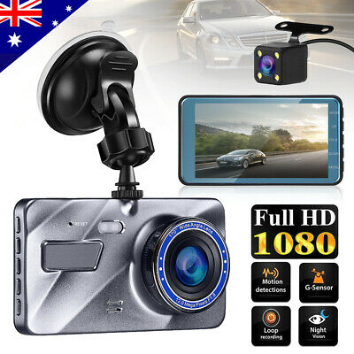 "4"" 1080P Dual Lens Car Dash Cam Front and Rear Camera Dashboard 170°DVR Recorder"