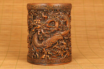 Asian old boxwood hand carving dragon statue figue netsuke brush pot