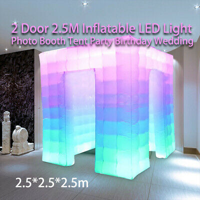 2.5M 2 Doors 700W Inflatable LED Light Photo Booth Tent Party Birthday Wedding