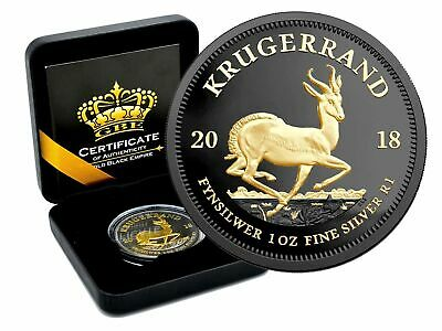 Südafrika - Krügerrand 2018 - 1 Oz 999 Silber Black Empire Edition in Box