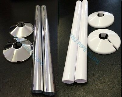 Radiator Pipe COLLARS & TUBES White Or Chrome 200mm x 15mm - Diff Qtys Pipe Tidy