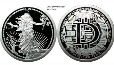 1 Oz Silver Coin Proof Enemy Unknown- Decentralize Bitcoin Sbss Rare Bullion Hot
