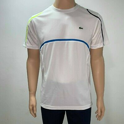 c629cf0d Lacoste Sport Mens Athletic Jersey T Shirt Blue Red White XS S M L XL Ultra  Dry