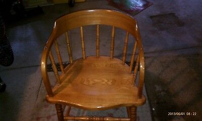 Antique Oak Captains / Firehouse Chair - Nice