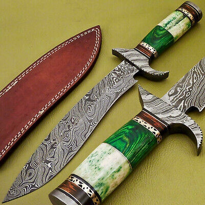 Rody Stan HAND FORGED DAMASCUS BOWIE HUNTING KNIFE - STAINED CAMEL BONE -JK-2826