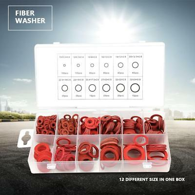 600pcs 12 Sizes Red Steel Paper Fiber Flat Washer Kit Insulation Washer Assorted