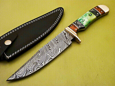 Rody Stan HAND MADE DAMASCUS STEEL FULL TANG KNIFE - STAINED CAMEL BONE - JK-953