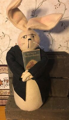 Primitive Handmade Rabbit Bunny Hare 15 inch w/ Glasses and Story Book