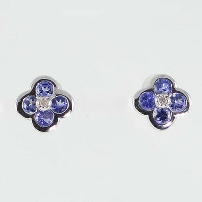 9ct White Gold Tanzanite and Diamond Cluster Earrings